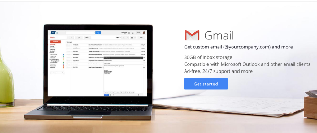 Gmail for business get started site