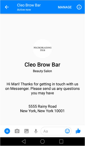 Example of Facebook messenger app displaying an automatic greeting microblading hub how to make a kickass facebook page for your business