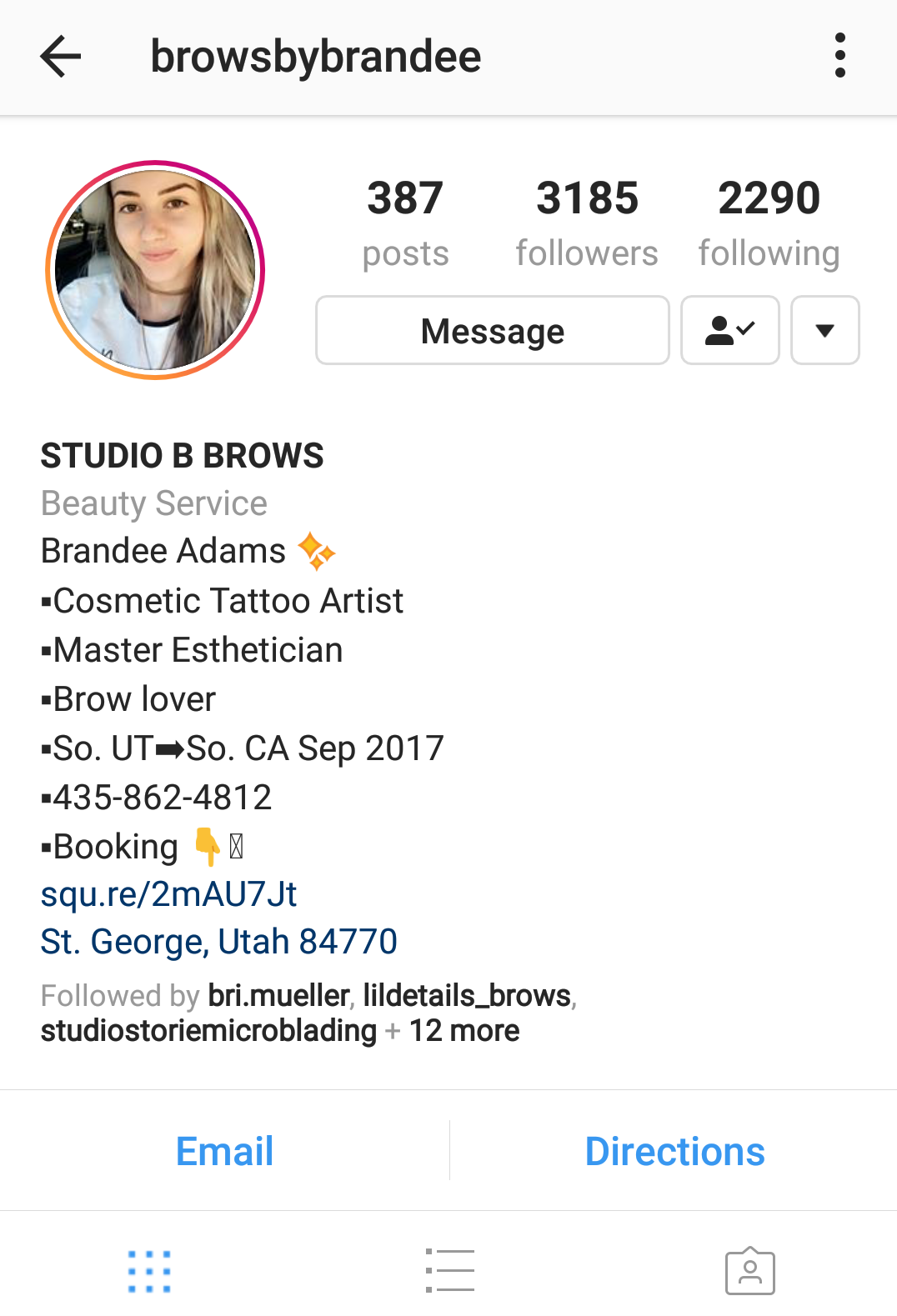 Brows by Brandee is using Square Appointments to direct her users to her free site.