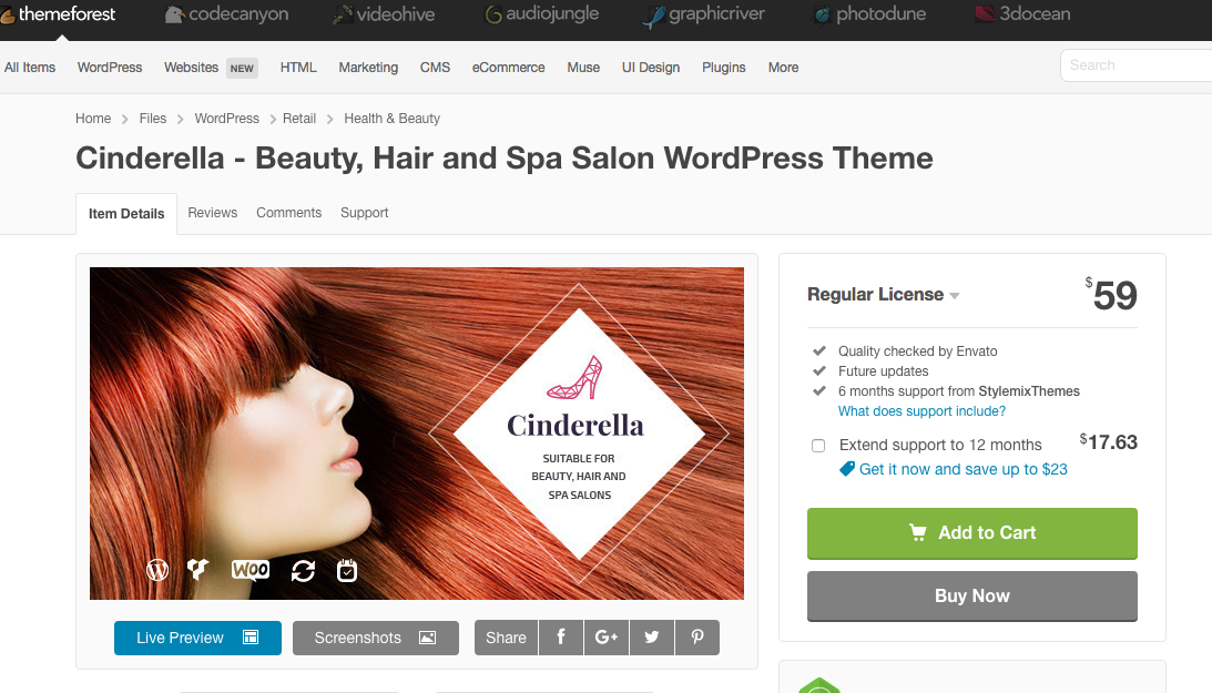 Theme Forest has a great selection of themes. This one is for beauty businesses.