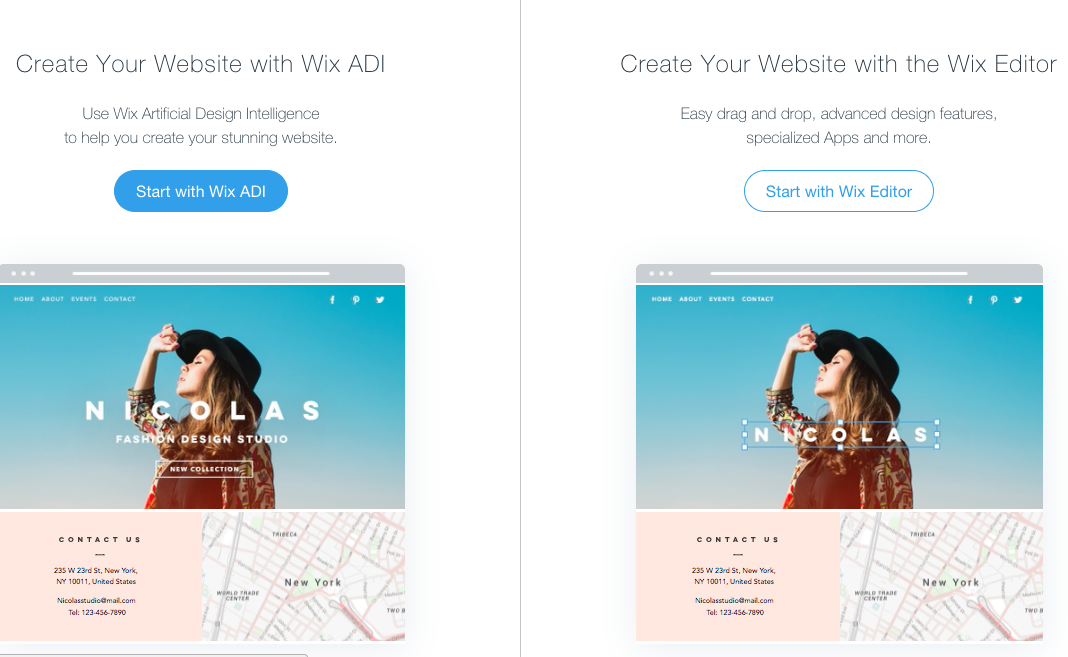 Wix gives you two different options for creating your website: the AI or website builder.